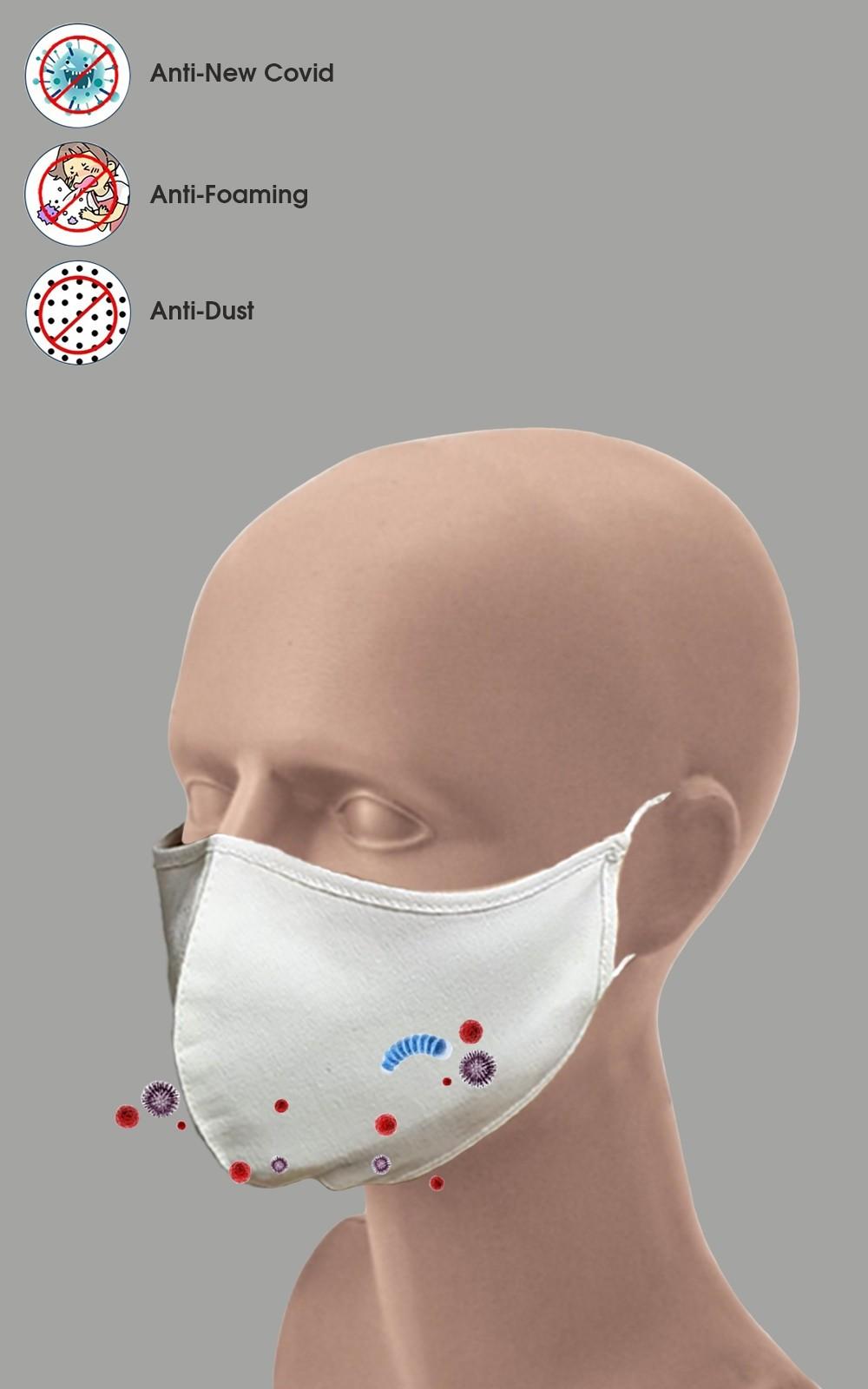 5 Stück Mundschutz 2-lagig Maske 100% Baumwolle waschbar